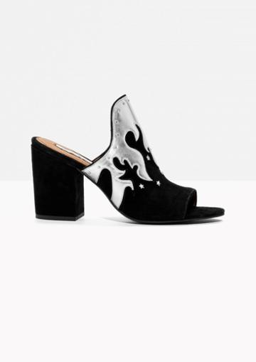 Other Stories Metallic Flames Suede Mules