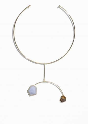Other Stories Stone Embossed Choker Necklace