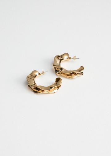 Other Stories Rippling Wave Hoop Earrings - Gold