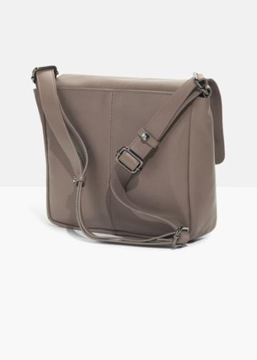 Other Stories Leather Messenger Bag - Beige
