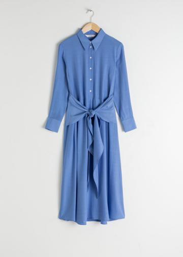 Other Stories Polka Dot Waist Tie Midi Dress - Blue