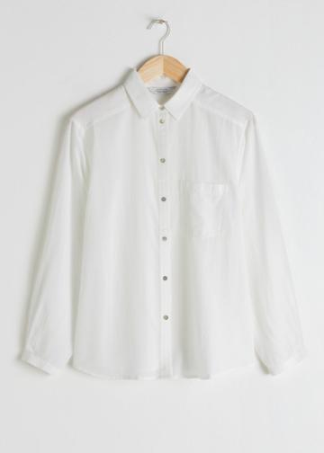 Other Stories Lyocell Button Up Shirt - White