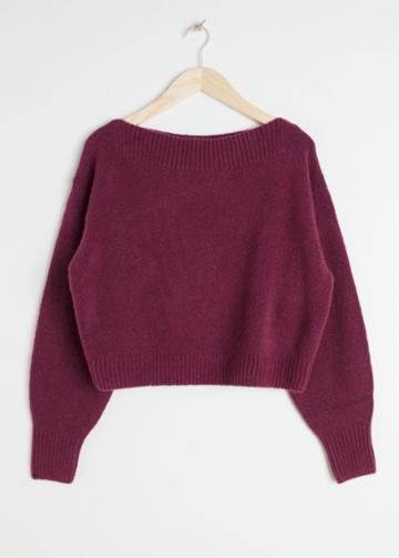 Other Stories Boatneck Knit Sweater - Red