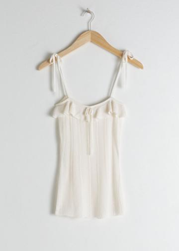 Other Stories Ruffled Square Neck Tank Top - White