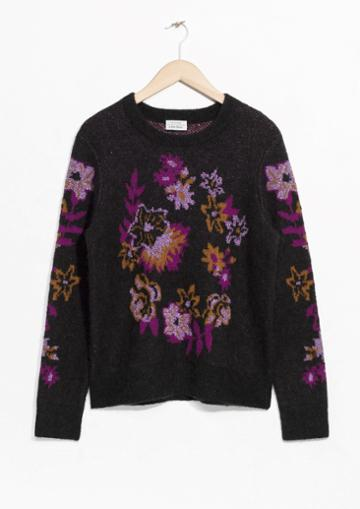 Other Stories Flower Knit Jacquard Sweater