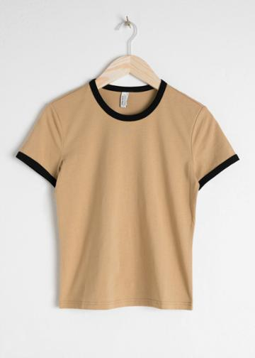 Other Stories Coloured Ringer Tee - Beige