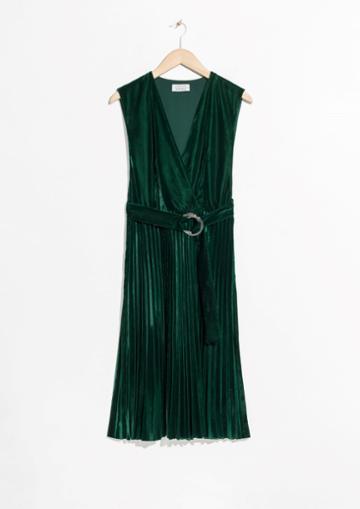 Other Stories Pleated Velvet Dress
