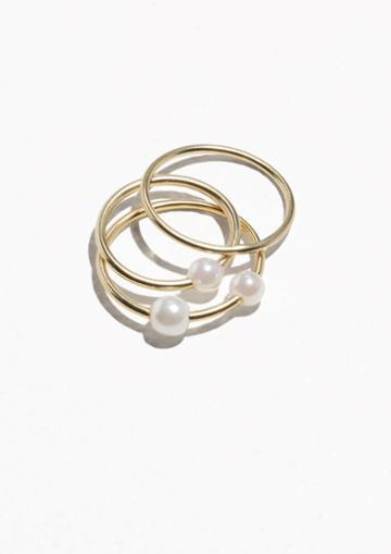 Other Stories Trio Pearl Rings
