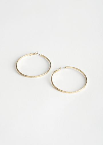Other Stories Textured Hoop Earrings - Gold