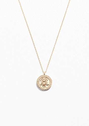 Other Stories Bee Embossed Pendant Necklace