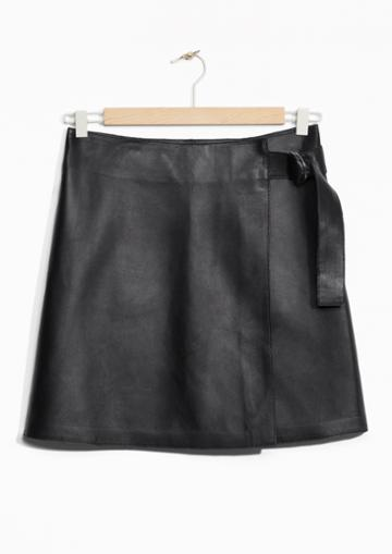 Other Stories Wrap Leather Skirt