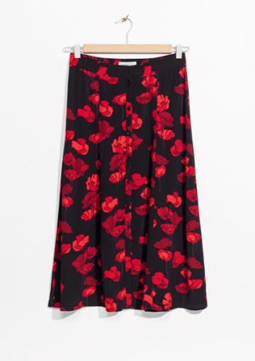 Other Stories Poppy Print Midi Skirt