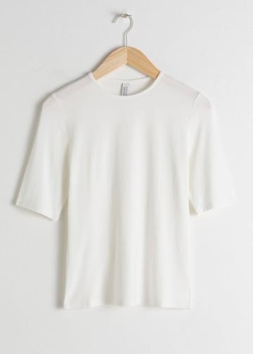 Other Stories High Neck Fitted Tee - White