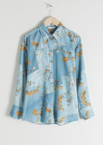 Other Stories Floral Print Button Up - Blue