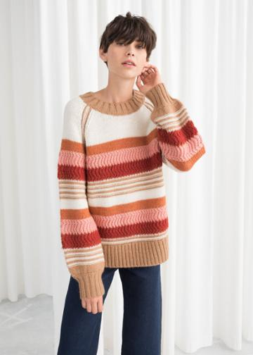 Other Stories Striped Wool Blend Sweater - White