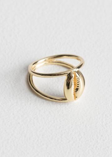 Other Stories Duo Band Puka Shell Ring - Gold