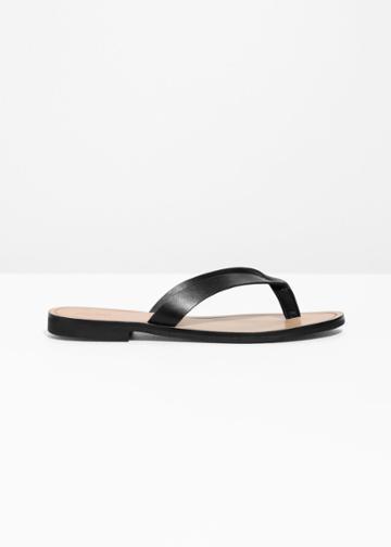 Other Stories Leather Flip Flops - Black