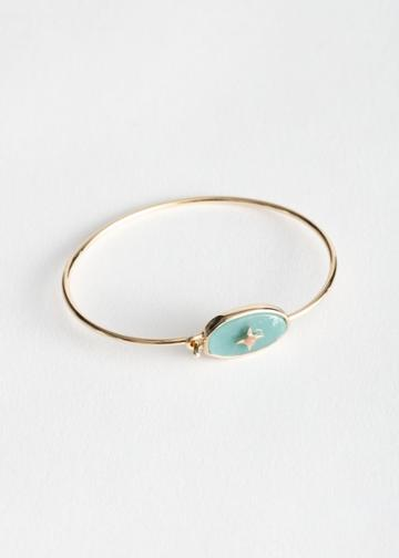 Other Stories Oval Pendant Cuff Bracelet - Green