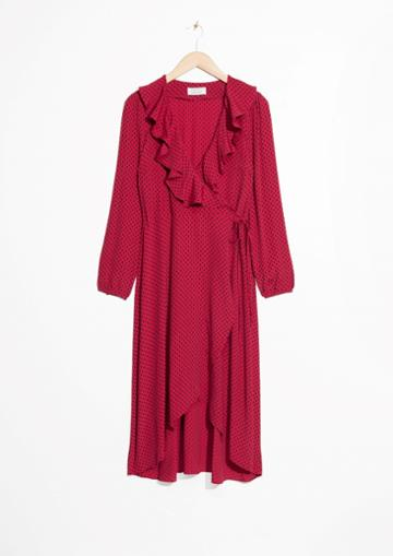 Other Stories Ruffle Tie Wrap Dress