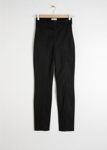 Other Stories Fitted Cotton Trousers - Black