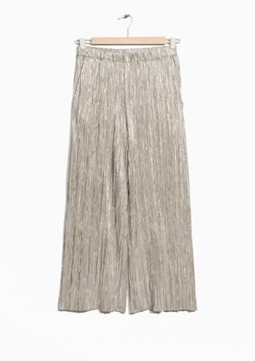 Other Stories Pleated Metallic Trousers