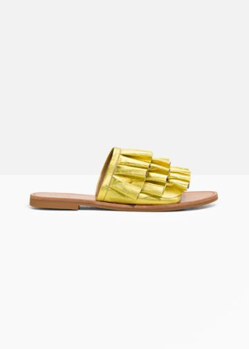 Other Stories Frill Slippers - Gold