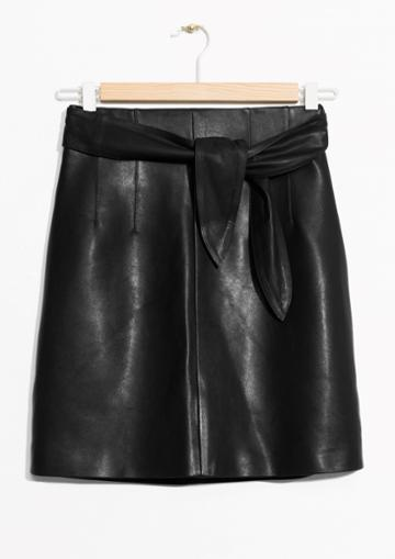 Other Stories Belted Leather Skirt