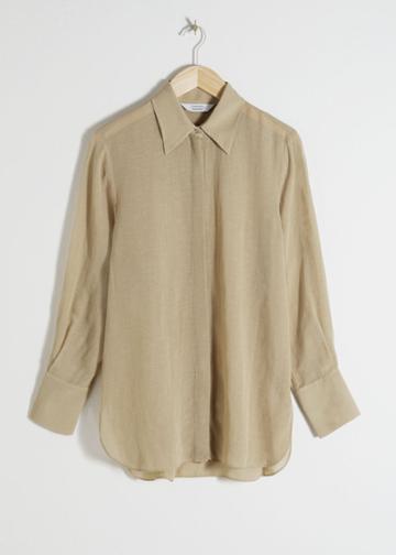 Other Stories Linen Blend Button Up Shirt - Beige
