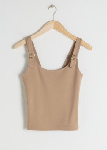 Other Stories Square Buckle Strap Tank Top - Beige