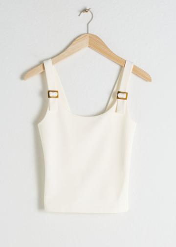 Other Stories Square Buckle Strap Tank Top - White