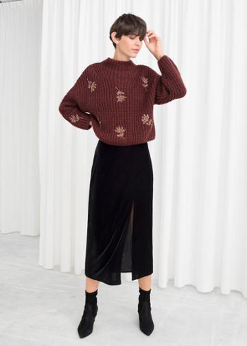 Other Stories Velvet Side Slit Midi Skirt - Black