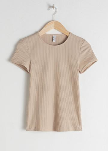 Other Stories Stretch Cotton Top - Beige