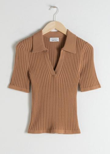 Other Stories Stretch Micro Knit Polo Top - Beige