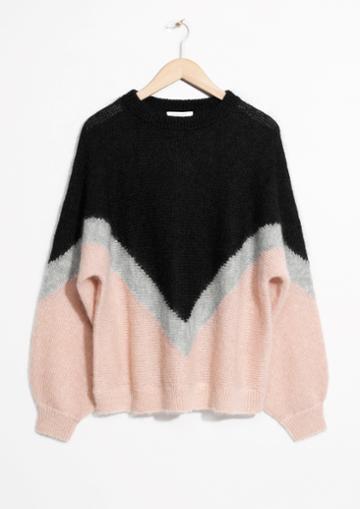 Other Stories Varsity Chevron Sweater