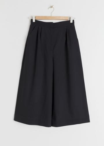 Other Stories High Waisted Twill Culottes - Black