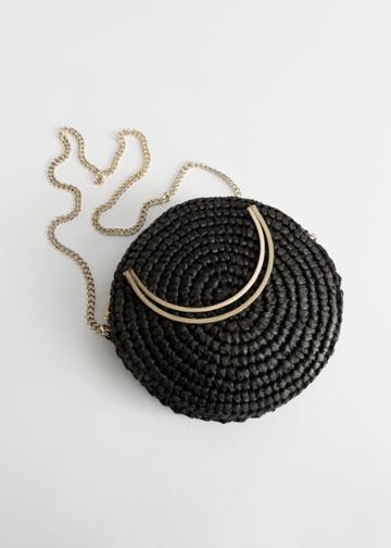 Other Stories Woven Straw Crossbody Bag - Black
