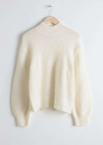 Other Stories Wool Blend Cable Knit Sweater - White