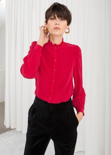 Other Stories Ruffle Collar Silk Shirt - Red