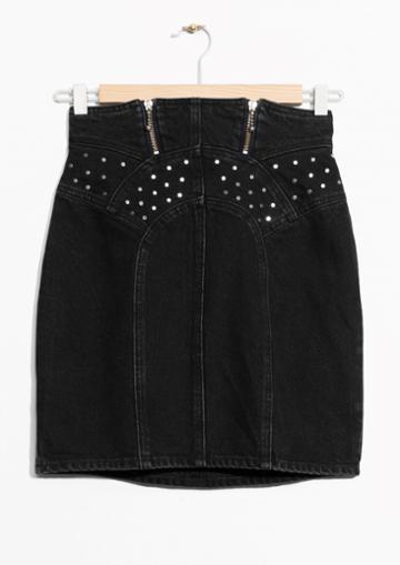Other Stories Stud Detail Denim Skirt