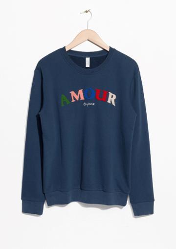 Other Stories Embroidered Fleece Sweatshirt