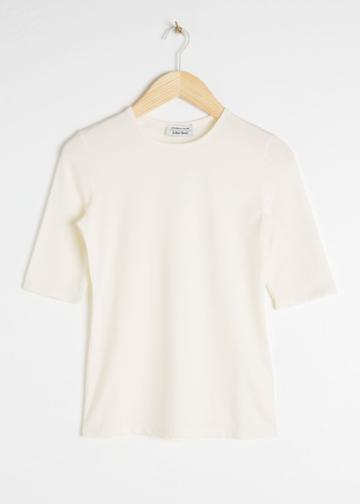 Other Stories Fitted Stretch Cotton Tee - White