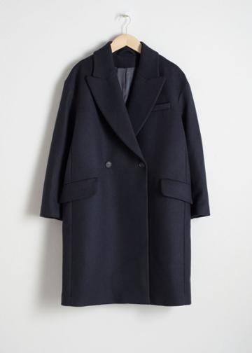 Other Stories Wool Blend Straight Coat - Blue