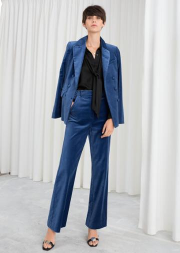 Other Stories High Waisted Velvet Trousers - Blue