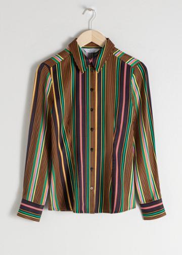 Other Stories Striped Satin Button Up Shirt - Blue