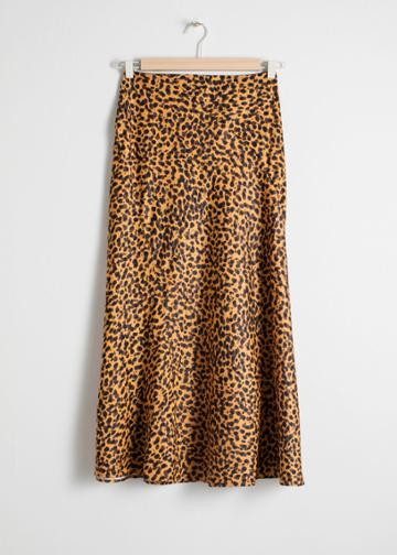 Other Stories Leopard Print Midi Skirt - Orange