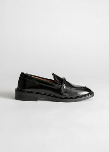 Other Stories Leather Penny Loafers - Black