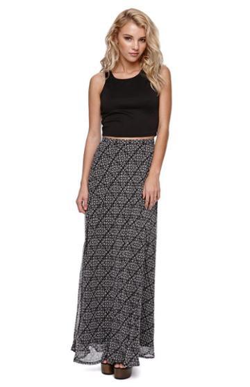 La Hearts Womens La Hearts Skirt - La Hearts Black And White Chiffon Maxi Skirt