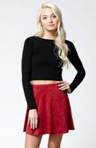 La Hearts Faux Suede Swing Skirt