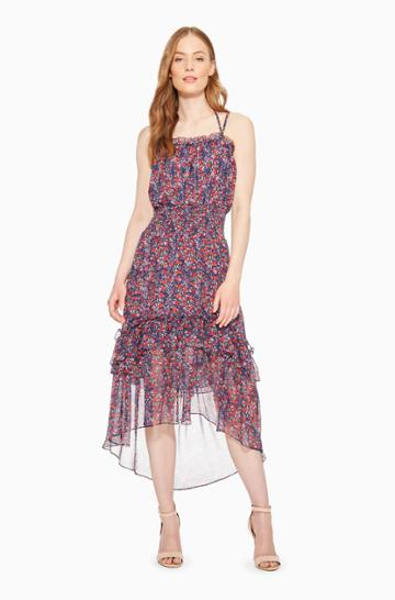 Parker Ny Amethyst Floral Dress