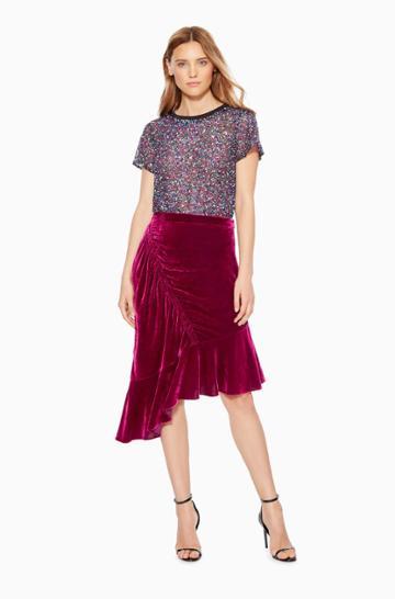 Https:/www.parkerny.com/astrid-velvet-skirt/p8j4958vev.html Parker Ny Astrid Velvet Skirt Mulberry Sequin, Size 0